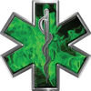 Star of Life Emergency EMS EMT Paramedic Decal in Inferno Green
