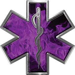 Star of Life Emergency EMS EMT Paramedic Decal in Inferno Purple