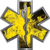 Star of Life Emergency EMS EMT Paramedic Decal in Inferno Yellow