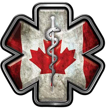 Star of Life Emergency Response EMS EMT Paramedic Decal with Grunge Style Canadian Flag