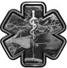 Star of Life Emergency Response EMS EMT Paramedic Decal in Gray Camouflage
