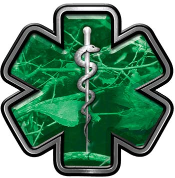 Star of Life Emergency Response EMS EMT Paramedic Decal in Green Camouflage