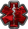 Star of Life Emergency Response EMS EMT Paramedic Decal in Red Camouflage