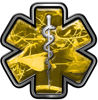 Star of Life Emergency Response EMS EMT Paramedic Decal in Yellow Camouflage