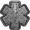 Star of Life Emergency Response EMS EMT Paramedic Decal in Diamond Plate