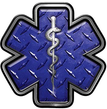 Star of Life Emergency Response EMS EMT Paramedic Decal in Blue Diamond Plate