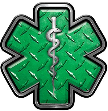 Star of Life Emergency Response EMS EMT Paramedic Decal in Green Diamond Plate