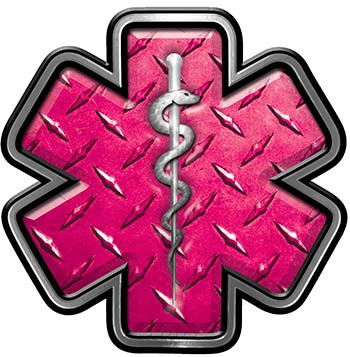 Star of Life Emergency Response EMS EMT Paramedic Decal in Pink Diamond Plate