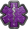 Star of Life Emergency Response EMS EMT Paramedic Decal in Purple Diamond Plate