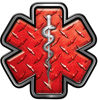 Star of Life Emergency Response EMS EMT Paramedic Decal in Red Diamond Plate