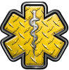 Star of Life Emergency Response EMS EMT Paramedic Decal in Yellow Diamond Plate
