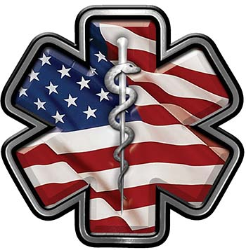 Star of Life Emergency Response EMS EMT Paramedic Decal with American Flag