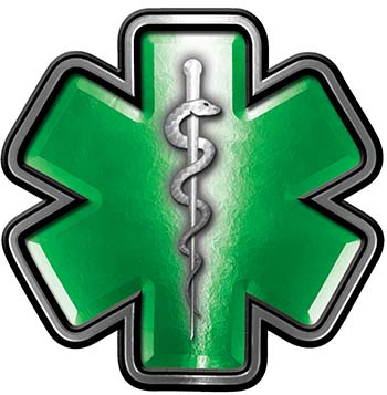Star of Life Emergency Response EMS EMT Paramedic Decal in Green