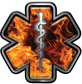 Star of Life Emergency Response EMS EMT Paramedic Decal in Inferno