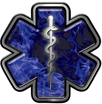 Star of Life Emergency Response EMS EMT Paramedic Decal in Blue Inferno