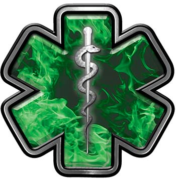 Star of Life Emergency Response EMS EMT Paramedic Decal in Green Inferno