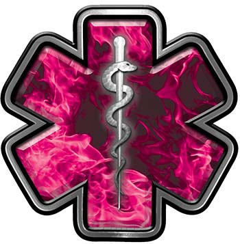 Star of Life Emergency Response EMS EMT Paramedic Decal in Pink Inferno