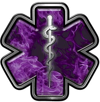 Star of Life Emergency Response EMS EMT Paramedic Decal in Purple Inferno