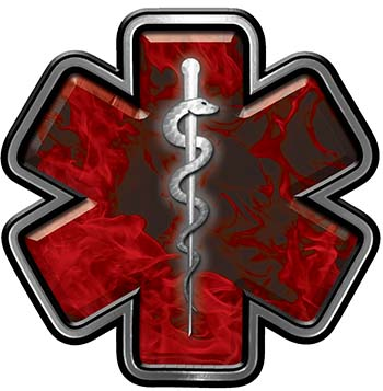 Star of Life Emergency Response EMS EMT Paramedic Decal in Red Inferno