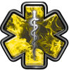 Star of Life Emergency Response EMS EMT Paramedic Decal in Yellow Inferno