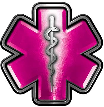 Star of Life Emergency Response EMS EMT Paramedic Decal in Pink