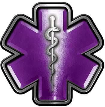 Star of Life Emergency Response EMS EMT Paramedic Decal in Purple