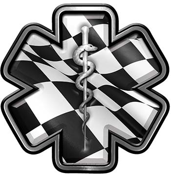 Star of Life Emergency Response EMS EMT Paramedic Decal with Checkered Racing Victory Flag