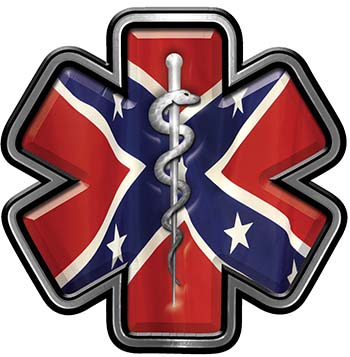 Star of Life Emergency Response EMS EMT Paramedic Decal with Rebel Confederate Flag