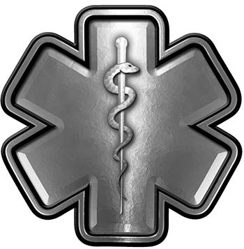 Star of Life Emergency Response EMS EMT Paramedic Decal in Silver