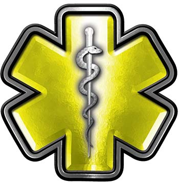 Star of Life Emergency Response EMS EMT Paramedic Decal in Yellow