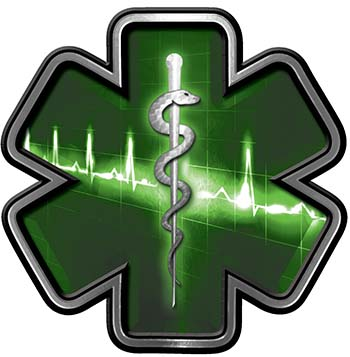 Star of Life with Heartbeat Emergency EMS EMT Paramedic Decal in Green