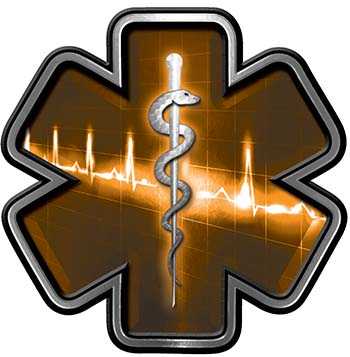 Star of Life with Heartbeat Emergency EMS EMT Paramedic Decal in Orange