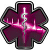 Star of Life with Heartbeat Emergency EMS EMT Paramedic Decal in Pink
