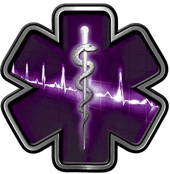 Star of Life with Heartbeat Emergency EMS EMT Paramedic Decal in Purple