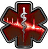 Star of Life with Heartbeat Emergency EMS EMT Paramedic Decal in Red