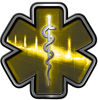 Star of Life with Heartbeat Emergency EMS EMT Paramedic Decal in Yellow