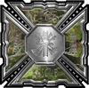 Aztec Style Modern Edge Fire Fighter Maltese Cross Decal in Camouflage
