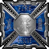 Aztec Style Modern Edge Fire Fighter Maltese Cross Decal in Blue Camouflage