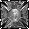 Aztec Style Modern Edge Fire Fighter Maltese Cross Decal in Gray Camouflage