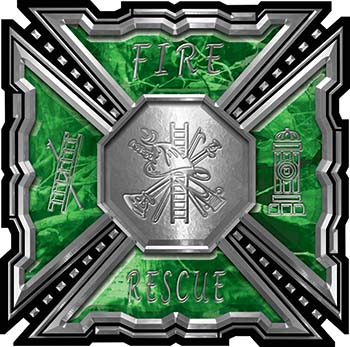 Aztec Style Modern Edge Fire Fighter Maltese Cross Decal in Green Camouflage