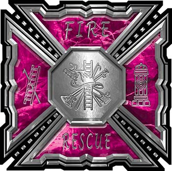 Aztec Style Modern Edge Fire Fighter Maltese Cross Decal in Pink Camouflage