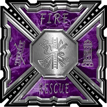 Aztec Style Modern Edge Fire Fighter Maltese Cross Decal in Purple Camouflage