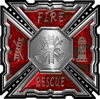 Aztec Style Modern Edge Fire Fighter Maltese Cross Decal in Red Camouflage