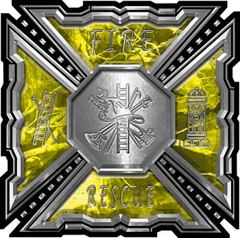 Aztec Style Modern Edge Fire Fighter Maltese Cross Decal in Yellow Camouflage