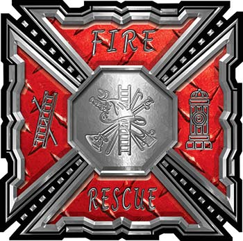 Aztec Style Modern Edge Fire Fighter Maltese Cross Decal in Red Diamond Plate