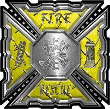 Aztec Style Modern Edge Fire Fighter Maltese Cross Decal in Yellow Diamond Plate