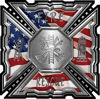 Aztec Style Modern Edge Fire Fighter Maltese Cross Decal with American Flag