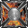 Aztec Style Modern Edge Fire Fighter Maltese Cross Decal in Inferno Flames