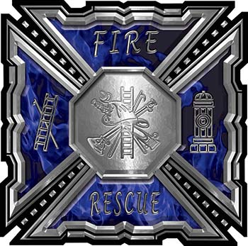 Aztec Style Modern Edge Fire Fighter Maltese Cross Decal in Blue Inferno Flames