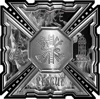 Aztec Style Modern Edge Fire Fighter Maltese Cross Decal in Gray Inferno Flames
